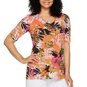Denim & Co Tropical Print Elbow Sleeve V-Neck Top